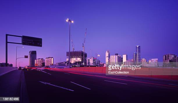 Road leading to Docklands area in Melbourne