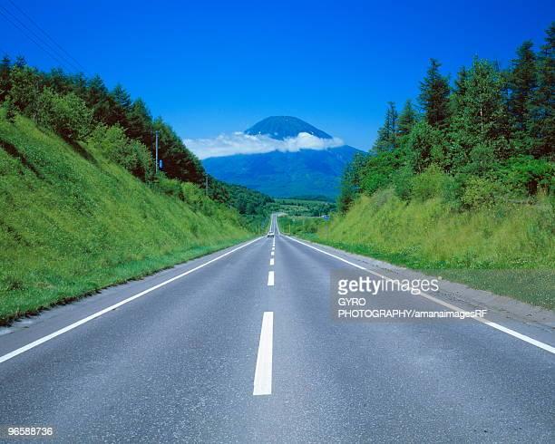 Road leading to mountain,  Yotei-zan,  Hokkaido,  Japan