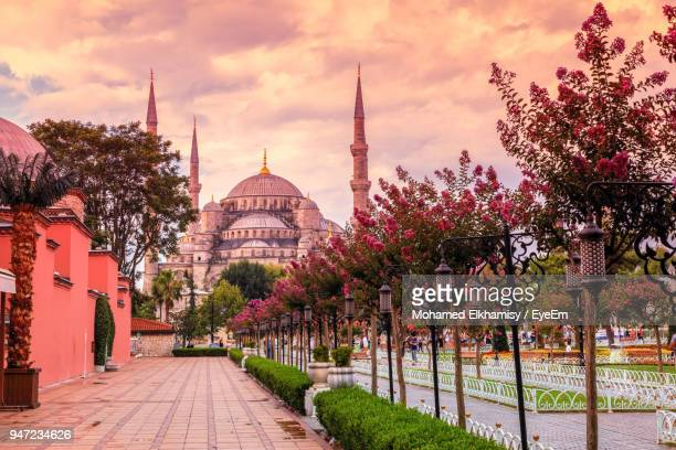 road leading towards mosque against cloudy sky during sunset - istanbul province stock photos and pictures