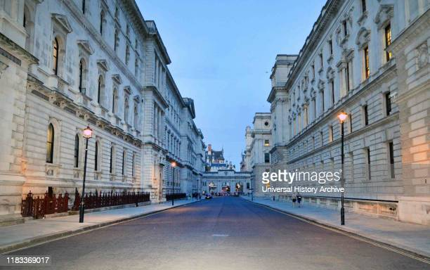 Road linking the treasury and Foreign Office, Government ministries in Whitehall, London.