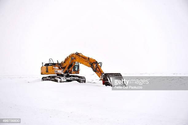Road Machine Digger at Reykjavik Iceland