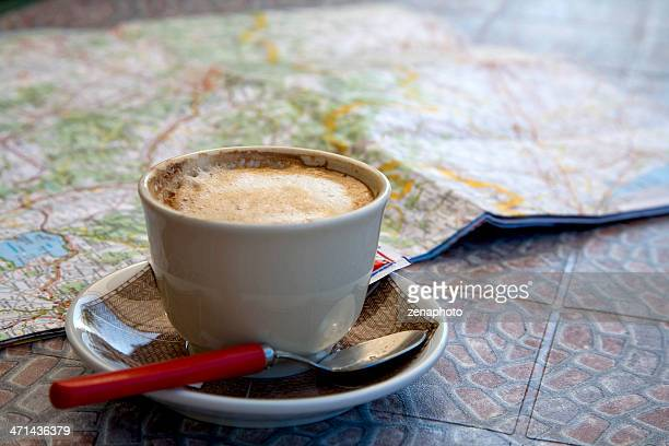 Road Map and Cappuccino Coffee