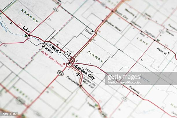 Road map of area around Garden City, New Jersey, extreme close-up