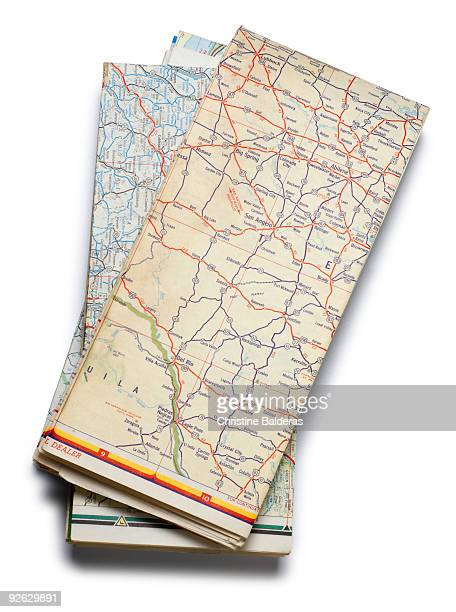 road maps - folded stock photos and pictures