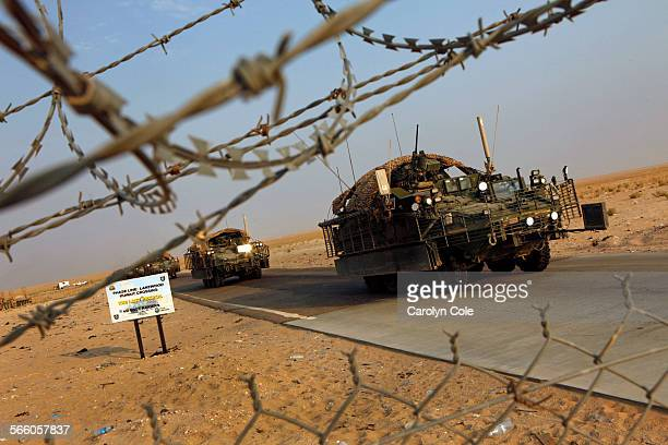 A road march called The Last Patrol of the 4th Stryker Brigade Combat Team 2nd Infantry Division led by Col John Norris reach the Kuwait border after...