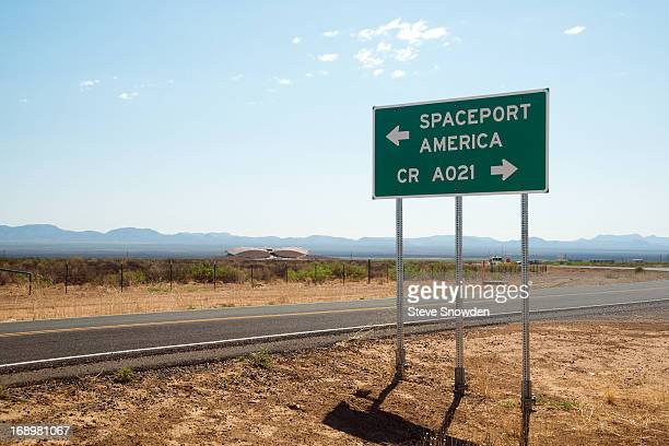 """Road marker shows the way to Spaceport America, site of Colombia Pictures' """"After Earth"""" Press Junket at Spaceport America on MAY 17, 2013. The..."""