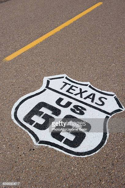 Road marking for the historic Route 66 in Texas, USA