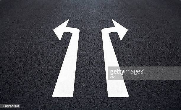 Straßenmarkierung, beiden Pfeil-Zeichen