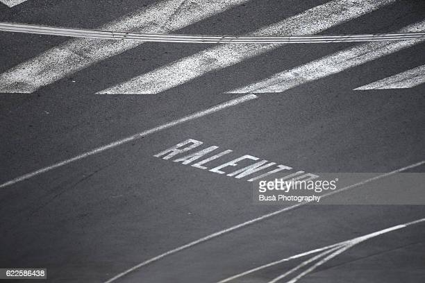 Road marking with zebra crossing and 'Ralentir' (French for: slow-down) text in Nizza, France