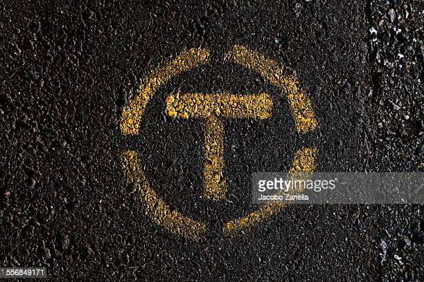 Road markings on black asphalt