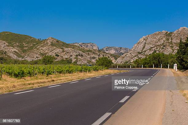 road near saint remy de provence (provence france) - bouches du rhone stock pictures, royalty-free photos & images