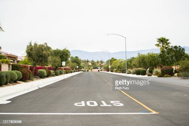 Road near the Empire Polo Club is seen on April 09, 2020 in Indio, California. The first weekend of the Coachella Valley Music and Arts Festival was...