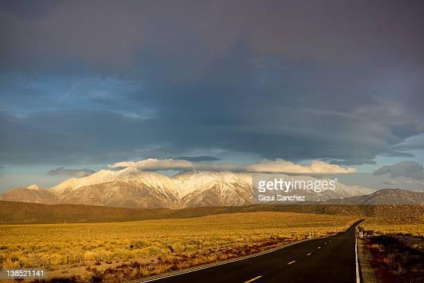road near tonopah. - tonopah,_nevada stock pictures, royalty-free photos & images