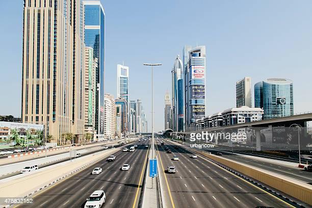 Road network, multiple lane highway, contemporary architecture, skyscrapers,  Dubai cityscape
