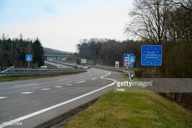 Road of Deutschland border with a sign that reads 'Bondsrepubliek Duitsland' ( Federal Republic of Germany), Europe