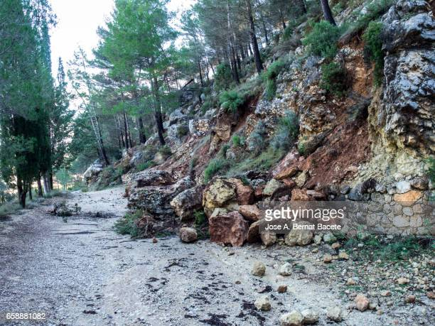 road of mountain cut by a landslide of rocks and mud for the strong rains - landslide stock pictures, royalty-free photos & images