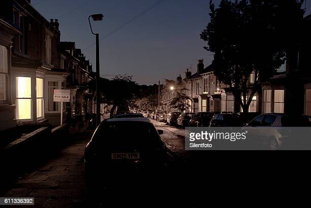 A Road of Terraced Houses in North of England