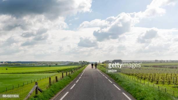 Straße in der niederländischen dyke im Frühling