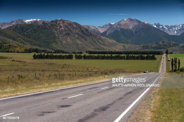 Road on the Arthur's pass national park in summer , canterbury , new zealand