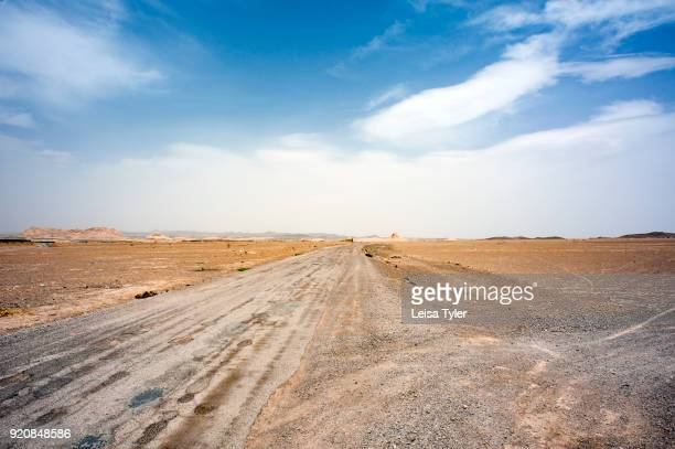 Road on the outskirts of the old town of Naein, an ancient city in the desert in Iran.