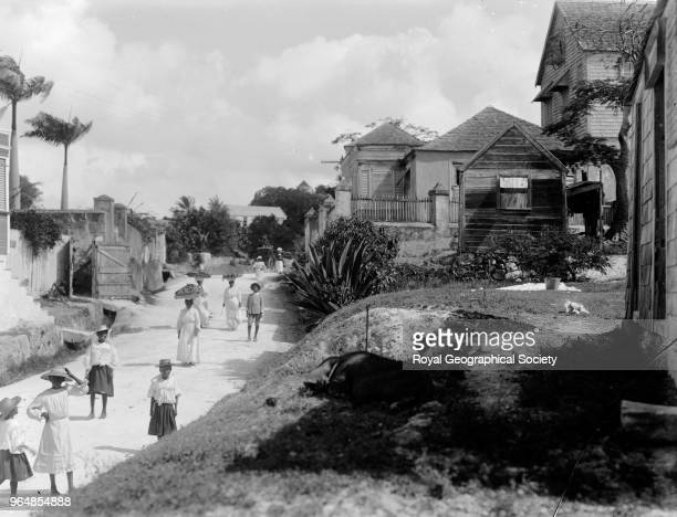 Road outwards - the country, This photograph is possibly of the main road out of Bridgetown to Eagle Hill and Spike's Town, Barbados, 1908.