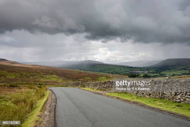 Road over the moors in the Yorkshire Dales, England