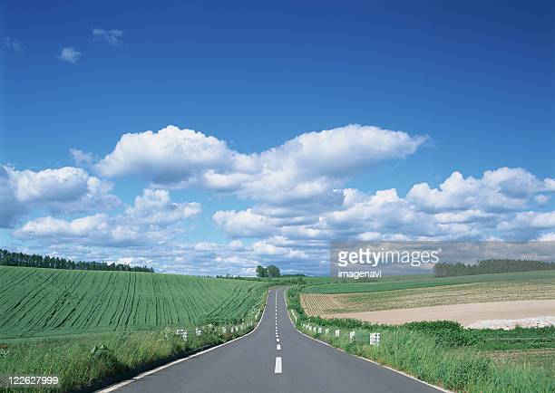 road - biei town stock pictures, royalty-free photos & images