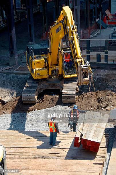 Strada riparazione costruzione lavoratori & dell'escavatore, New York City
