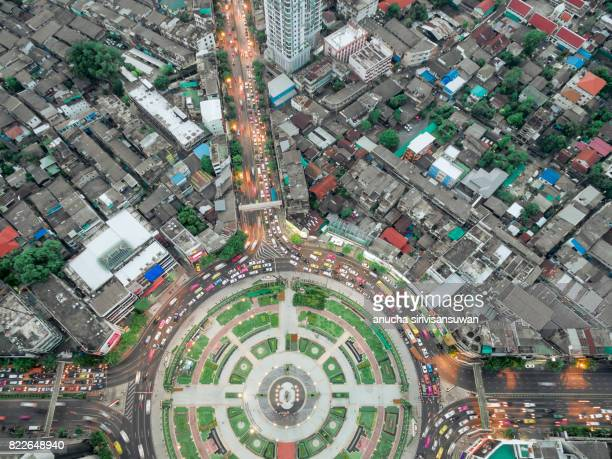 Road roundabout large beautiful  , topview , Wong Wian Yai , bangkok , thailand .