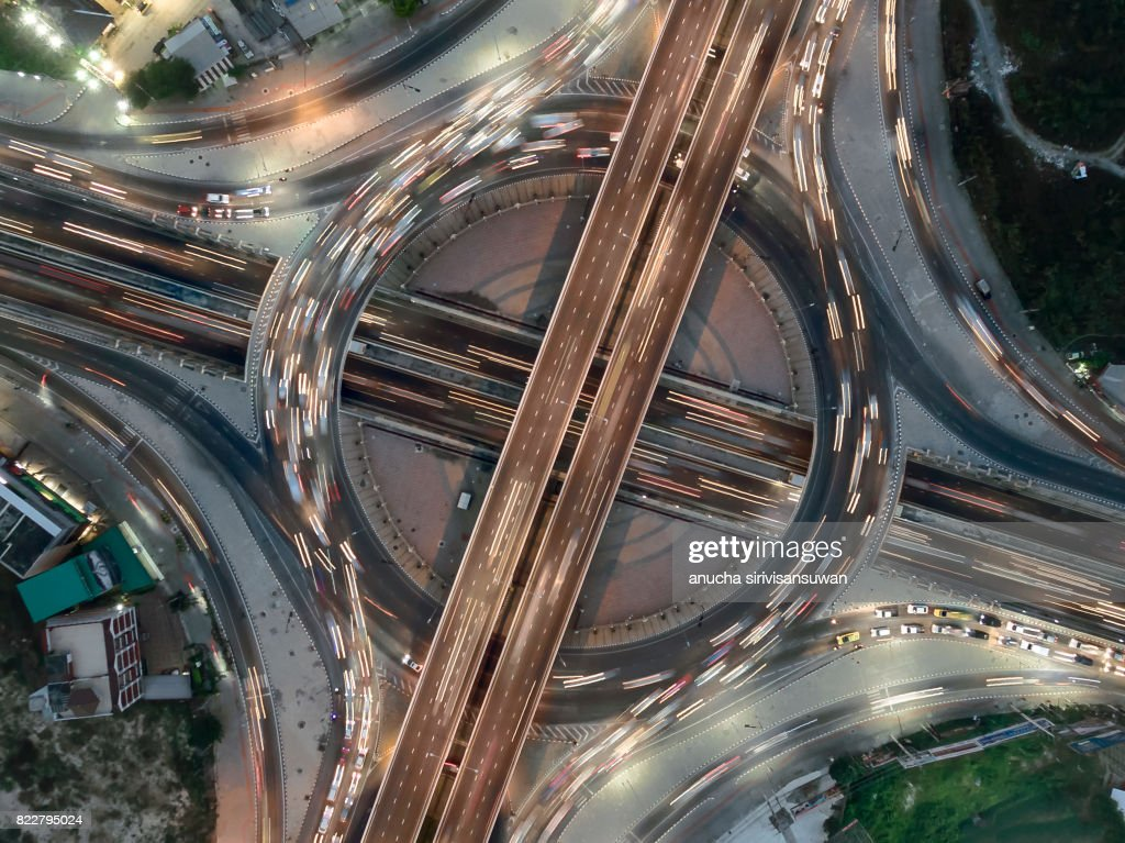 Road roundabout large The road has six lines beautiful at night  , Bird Eye View . : Stock Photo