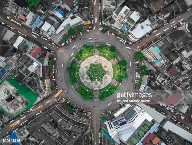 road roundabout large The road has six lines beautiful  , bird Eye View , 22 karakadakhom circle , bangkok , thailand .