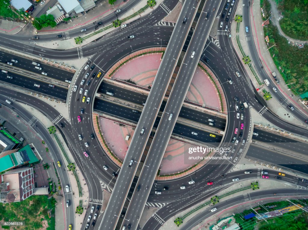 Road roundabout large The road has six lines beautiful  , Bird Eye View . : Stock Photo