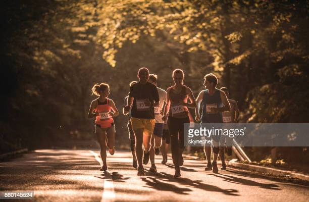 Road running race at sunset!