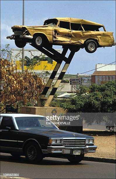 Road safety 'Monument' erected in Maracaibo Venezuela in April 1991