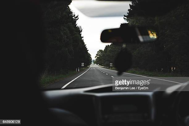 Road Seen Through Car Windshield