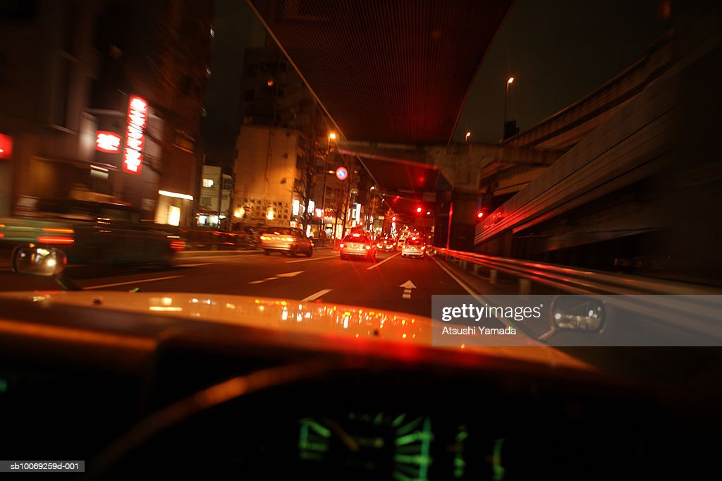 Road seen through windshield : Stockfoto