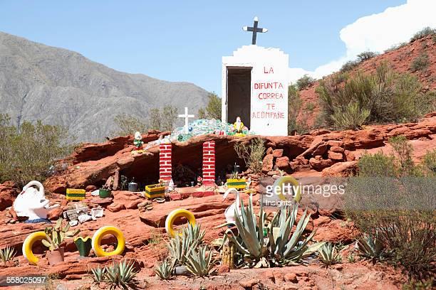 Road Shrine To Gauchito Gil Cuesta De Miranda Sierra De Famatina La Rioja Argentina