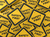 SAFETY FIRST Road Sign - 3D Rendering