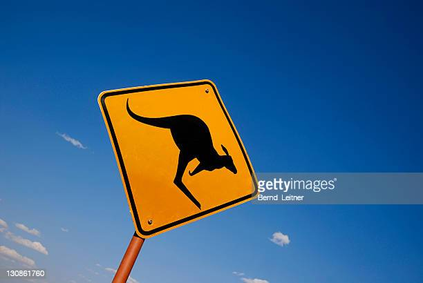 Road sign, beware of kangaroos, Outback, Uluru, Northern Territory, Australia