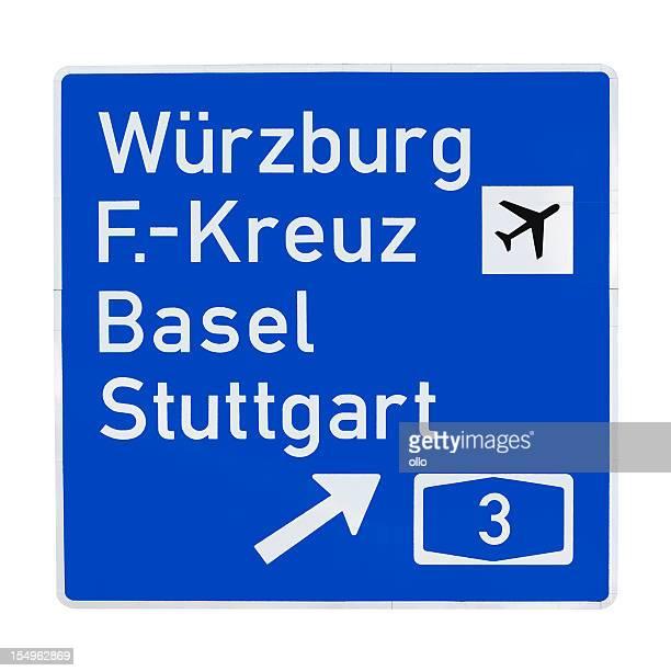 Road sign-Regeln zur A3, deutsche Städte