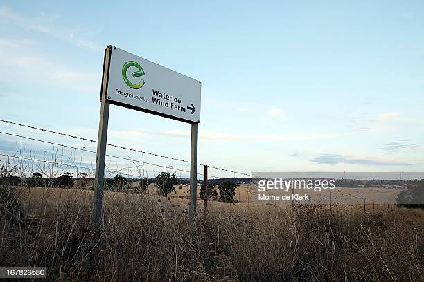 A road sign displays the direction to the Waterloo wind farm on April 18 2013 in Adelaide Australia South Australia's Environmental Protection Agency...