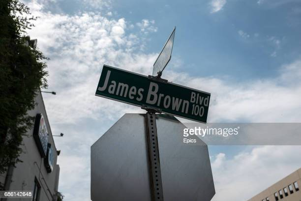 A road sign for James Brown Boulevard is seen in Augusta Georgia in 1993 Augusta payed tribute to James Brown the 'Godfather of Soul who was born...