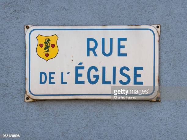 Road sign for Rue 'D'Eglise in Dieffenthal. Images taken in the Alsace Region of France between Chatenois and Andlau