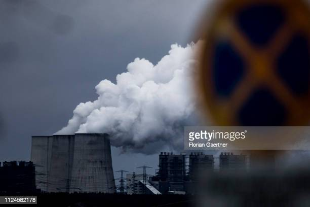 A road sign for stopping restriction is pictured in front of the lignitefired power station Boxberg on February 11 2019 in Klitten Germany