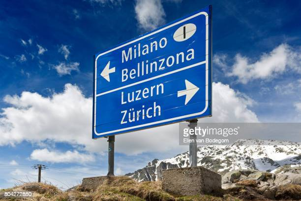 Road sign for Switzerland and Italy at the Gotthard Pass, Switzerland