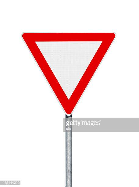 road sign. give way. isolated on white - give way stock pictures, royalty-free photos & images