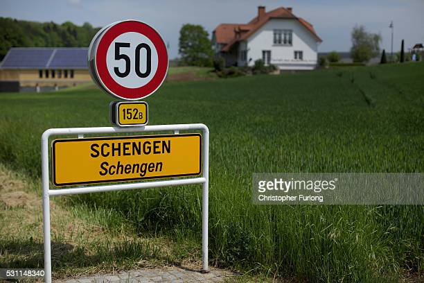 A road sign greets visitors to the town of Schengen where the 1985 European Schengen Agreement was signed on May 11 2016 in Schengen Luxembourg The...