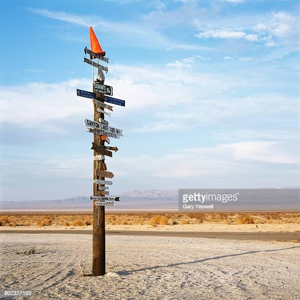 Road sign in the Mojave desert
