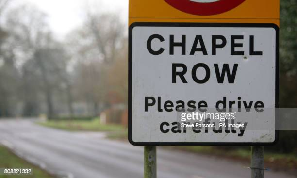 A road sign in the village of Chapel Row in Berkshire