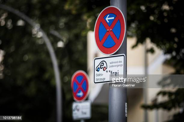 A road sign indicates a charging station for electric cars on August 08 2018 in Berlin Germany